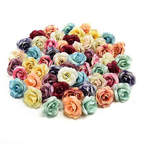 fake flowers heads Bulk Handmade Mini Artificial Silk Rose Flowers Heads DIY Scrapbooking Flower Kiss Ball for Wedding Decorative 30 Pcs 3.5cm (Multicolor)