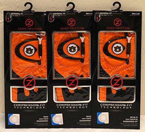 3 Zero Friction Men's Left Hand Universal Golf Gloves - Auburn - Orange by Friction