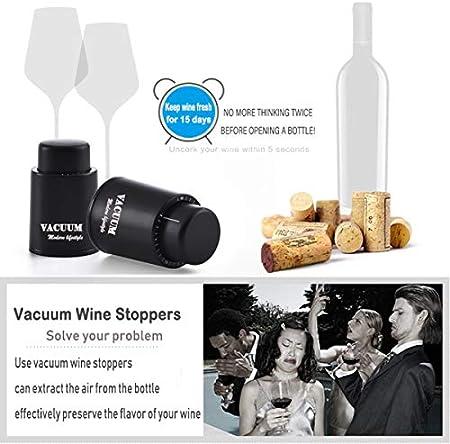 Tapón de Botella de Vino, Tapón de Champán al Vacío Real, Tapón de Vino Reutilizable, Corchos de Vino para Mantener Fresco, el mejor regalo para los amantes del vino
