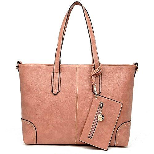 Women's Purses and Handbags Stylish Ladies Designer Satchel Top-handle Tote Shoulder Bags,QUEENTOO(C-Pink)
