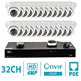 Cheap GW Security 32CH H.265 4K NVR 4-Megapixel (2592 x 1520) Plug & Play Security Camera System, 24pcs 4MP 1520p 3.6mm Wide Angle POE Weatherproof Dome IP Cameras, 80ft Night Vision