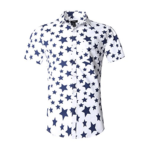 NUTEXROL Men's Star Print Casual Shirt Short Sleeve Cotton S