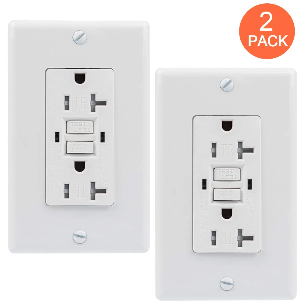 GFCI Outlet, GUKIBO 20A Dual Indicator Self Test Tamper Resistant Outlet, GFCI Receptacle Outlet with 2 LED Indicators, Ground Fault Circuit Interrupter, Auto-Test Function, UL-listed - 2 Pack