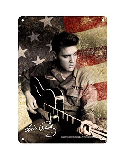- Elvis Presley 8x11.5 Tin Sign American Flag Army