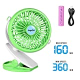 AsapGot Mini Battery Operated Clip Fan, Portable Table Fan Powered by 2600mAh Rechargeable Battery or USB, Quiet and Powerful Desk Personal Fan for Baby Stroller Car Gym Camping (Green)