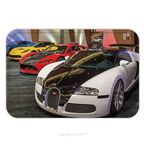 Flannel Microfiber Non-slip Rubber Backing Soft Absorbent Doormat Mat Rug Carpet Bugatti Veyron, Falcon F7, And Lingenfelter Z06 Corvette_512968354 for (Burgundy Kashan Rug)
