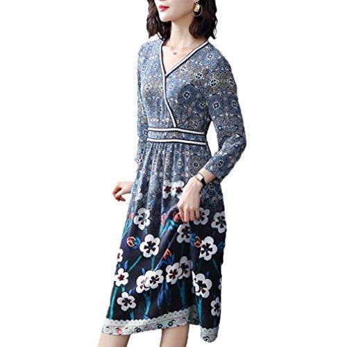 Una Donne `s V riga Casuale Seta Cotyledon Collo Delle Stampata Vestiti Di Vestito pqzzf1w