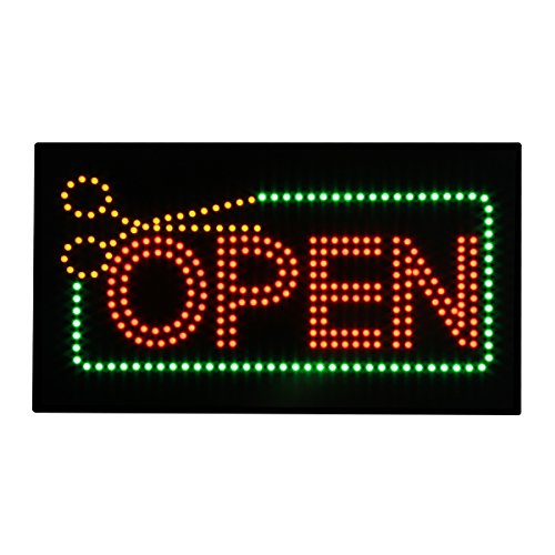 Barber Shop Sign Super Bright Flashing Animated LED Open Sign for Business Shop Window Decor with Scissors Electric Advertisement Display Billboard (27 x 15 inches) by Hidly