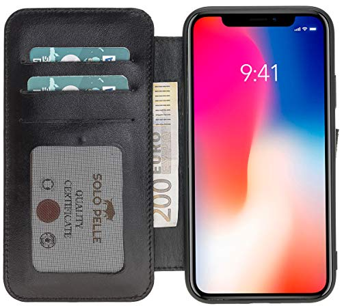 (Solo Pelle iPhone Xs Max Leather Wallet Carrying Case in Black )