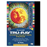 Wholesale CASE of 25 - Pacon Tru-Ray Heavyweight Construction Paper-Construction Paper,76 lb.,9''x12'',50/PK,Black