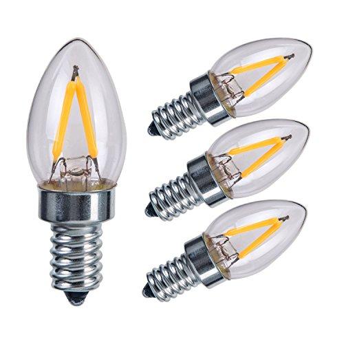 Torpedo Mini Pendant Lamp - Sagel E12 C7 LED Candle Bulbs, 2W LED Candelabra Light Bulbs 15 Watt Equivalent, 200lm, Warm White 2700K LED Filament Bulbs, E12 Candelabra Base Lamp C7 Mini Torpedo Shape, Non-Dimmable, Pack of 4