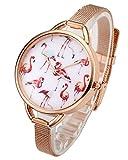 Top Plaza Womens Fashion Rose Gold Tone Analog Quartz Bracelet Wrist Watch, Cute Pink Flamingos Pattern, Mesh Metal Thin Band