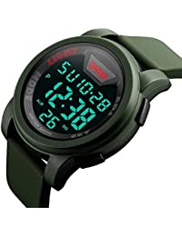 Mens Digital Sports Watch LED Screen Large Face Military Watches, Waterproof Luminous Stopwatch Alarm Simple