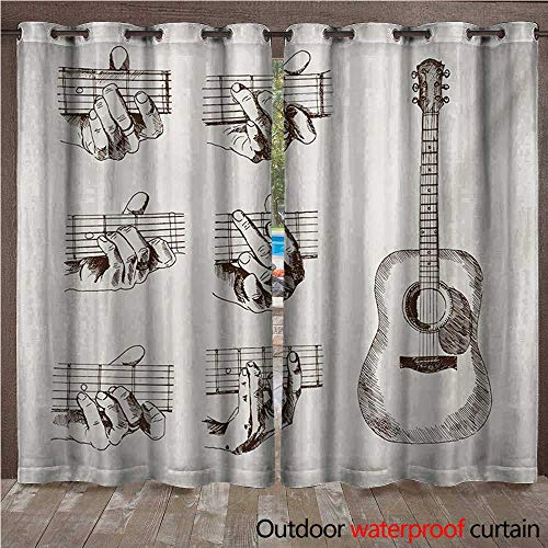 (BlountDecor Guitar Outdoor Curtain Panel for Patio Sketch Art Style Instrument and Chords Acoustic Flamenco Technique Skill TalentW108 x L96 Cream Brown)