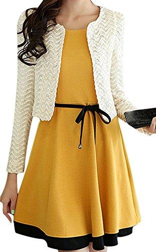 VonFon Women's Stylish Spring/Fall 2 Pcs Sleeveless Dress+Outerwear