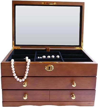 Tmpty Joyero Bloqueable, Caja de Joyas, Estuche Rectangular para Guardar Joyas, Pendientes, Anillos y Collares, Espejo y Cajones, Madera: Amazon.es: Hogar