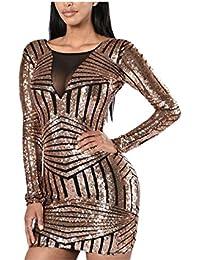 Eloise Isabel Fashion mulheres bodycon rosa preto aberto para trás partido mini dress vestido de festa curto de lantejoulas manga longa lc22867