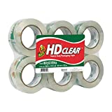Duck HD Clear Heavy Duty Packaging Tape Refill, 6 Rolls, 1.88 Inch x 109.3 Yard, (299016)