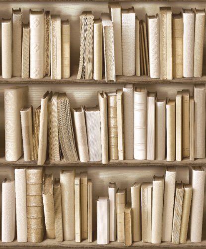 (J430-27 - Books Cream Bookshelf Photo Wallpaper)