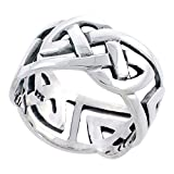 Gents Sterling Silver Celtic Knot Wedding Band Ring Flawless Finish 1/2 inch wide, size 9