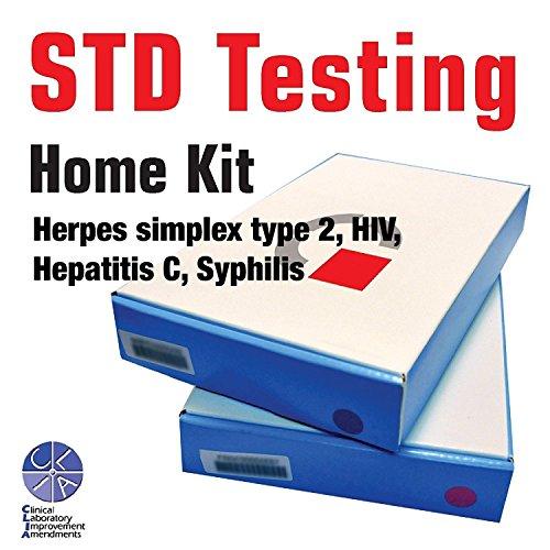 - STD self testing home kit/Easy 4 Steps/Lab Certified Result in 3-5 Day (Herpes simplex type 2, HIV, Hepatitis C, Syphilis) (Men)