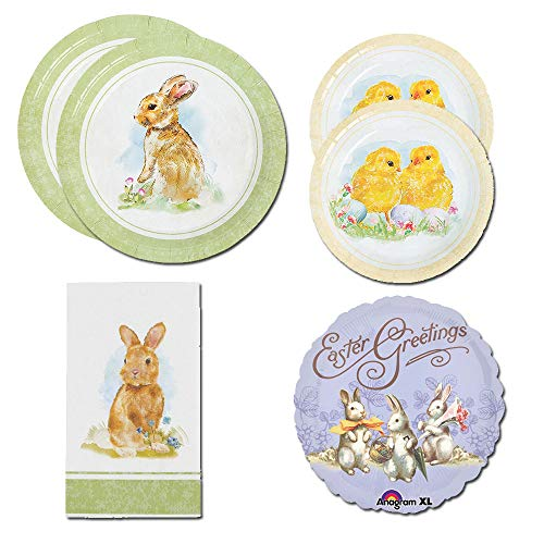 CombinedBrands Vintage Easter Bunny Chicks Party Supplies, 16 Guests, Large Small Plates, Napkins, Balloon