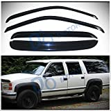 D&O MOTOR 4pcs Front+Rear Smoke Sun/Rain Guard Outside Mount Tape-On Vent Shade Window Visors For 92-00 Chevy/GMC C10 C/K Crew Cab 92-99 Suburban 95-99 Tahoe/Yukon 00 5.7L V8 99-00 Cadillac Escalade