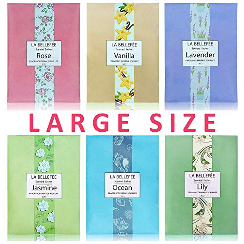 LA BELLEFÉE Scented Sachet, (30g X 6packs) Fragrance Packets Perfume Envelopes Sachets, Gift Idear for Home, Wardrobe, Drawer, Car, -