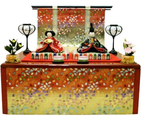 『友禅収納飾り雛 几帳付』 手作りちりめん細工 なごみの和雑貨 雛人形   B00HOSQU9G