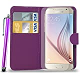Samsung Galaxy S6 Leather Wallet Flip Case Cover Pouch & Touch Stylus Pen + Screen Guard & Cleaning Cloth - DARK PURPLE