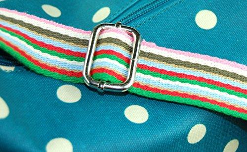 Carry-All Bag / Schultertasche petrol mit weißen Punkten, polkadots