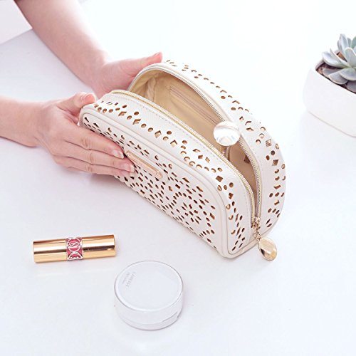 Makeup Bag, Wuhua Gold Pattern Cosmetic Bag with Zipper, Toiletry/Travel Bag for Women, Single Layer Storage Bag for Brushes Jewelry Accessories Collection by Wuhua (Image #4)