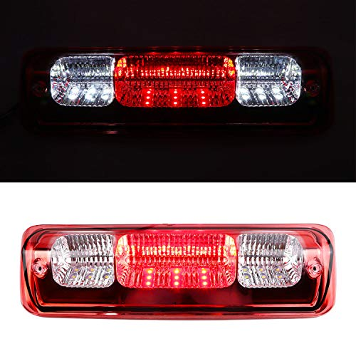 High Mount Stop Tail Cargo Light, Rear Roof Center LED Third 3rd Brake Cargo Light Assembly for 04-08 Ford F-150,07-10 Ford Explorer Sport Trac,06-08 Lincoln Mark LT(Black Housing Red Lens)