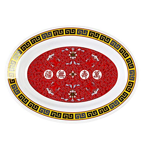 Thunder Group Peacock Collection 12-Pack 15-Ounce Deep Platter, 9 by 6-3/4-Inch, Melamine, Red ()