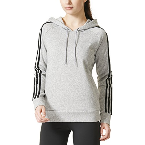 adidas Womens Athletics Essential Cotton Fleece 3 Stripe Pullover Hoody, Medium Grey Heather/Black, Large - Adidas 3 Stripes Fleece Hooded