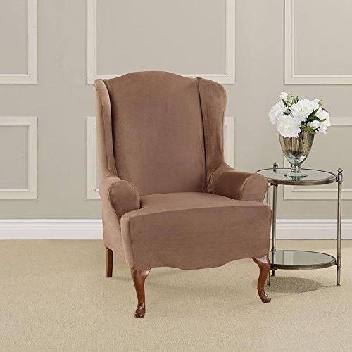 Sure Fit Ultimate Heavyweight Stretch Suede Slipcover (Luggage, Wing Chair) (Wing Chair Soft Suede)