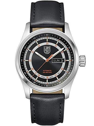 Luminox Atacama Field Automatic 1900 Series Watch Black, Sunray   Orange Dial Leather Black Strap XL.1901
