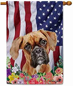 BAGEYOU American Flag with My Love Dog Boxer 4th of July Patriotic Decoraive House Flag for Outside Colorful Flowers Summer Home Decor Banner 28x40 Inch Printed Double Sided