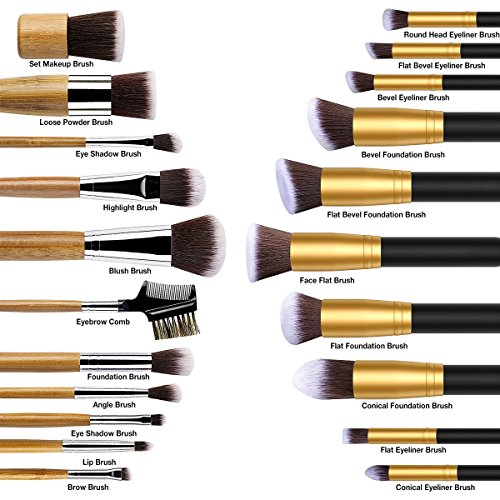 Makeup Brush, ESARORA Premium 22 Pcs Synthetic Foundation Powder Concealers Eye Shadows Silver Black Makeup Brush Sets