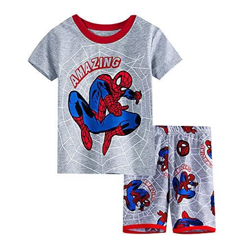 Fribro boy Shorts 2 Piece Pajama Set Spider-Man 100% Cotton Blue Size 2-7Yrs (Spider-Man A, 3T) (Spider Man Spider Man 2 Spider Man 3)