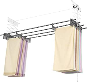 "Wellex 72"" Ceiling Mounted Laundry Drying Rack CH4180-O, Space Save, PULLY Laundry System Clothes Laundry Dryer Including Clothespin"
