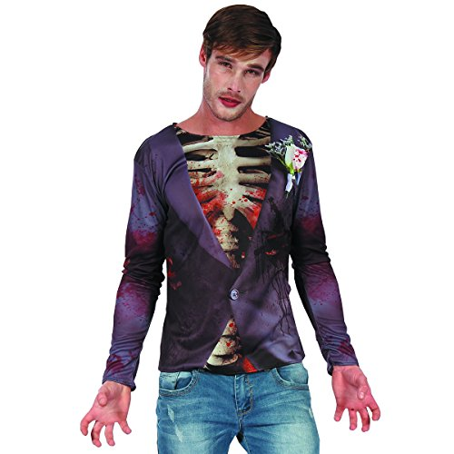 3d Zombie Costumes (YOU LOOK UGLY TODAY Men's Halloween Party Costumes Fancy Dress 3D Printing T-Shirt Horror Muscle Zombie Bridegroom Pattern,One size)