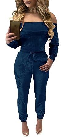 7d89791b4f Amazon.com  WorkTd Womens Off Shoulder Shiny Velvet Band Tie Jumpsuit  Rompers Playsuit  Clothing