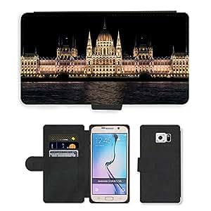PU LEATHER case coque housse smartphone Flip bag Cover protection // M00171263 Húngaro Noche parlamento de Budapest // Samsung Galaxy S6 (Not Fits S6 EDGE)