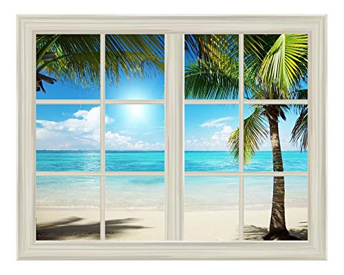 wall26 White Beach and Blue Sea View Window View Mural Wall Sticker - 36