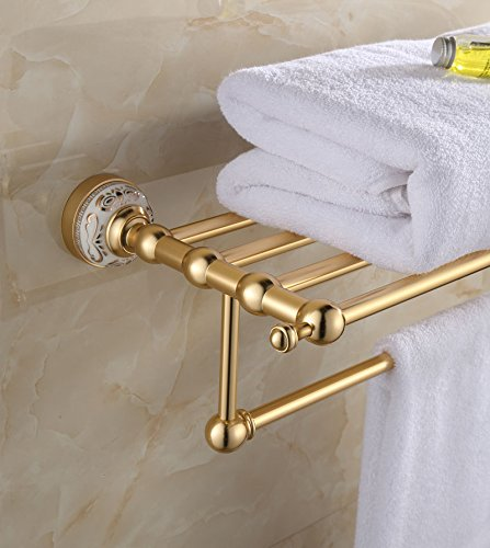 Wall Mounted Towel Rack Holder Golden Towel Shelf Tower Rail Towel Hanger Space Aluminum Bathroom Accessories European