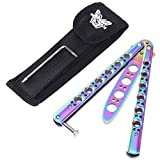 RUNACC Butterfly Knife Stainless Steel Knives Trainer Tool Blunt Practice Knife with Punch Design,...