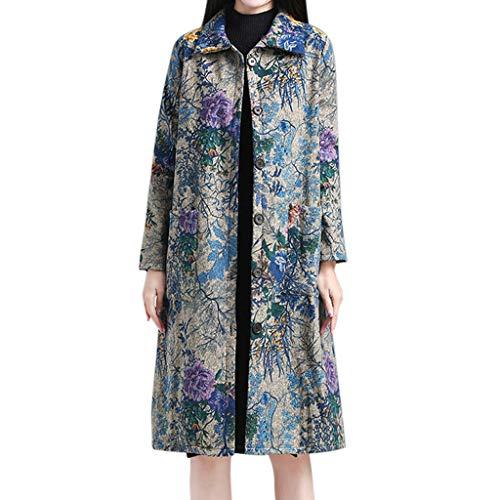 JOFOW Womens Shirt Jacket Lapel Coats Flowers Painting Print Ethnic Vintage Flannel Lined Warm Loose Long Cardigans Plus Size (XL =US:4-10,Sky -