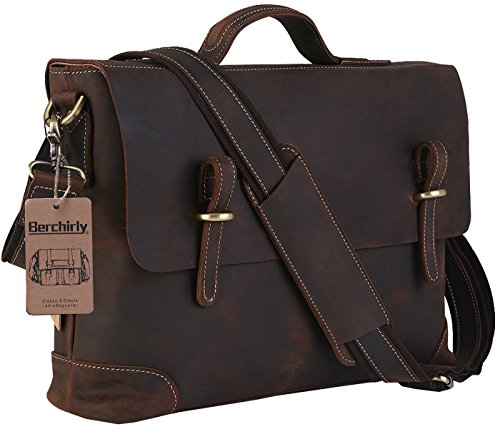 Men's Leather Laptop Bag, Berchirly Vintage Look Crazy Horse Genuine Leather Business Crossbody Shoulder Bag Briefcase for Men Fits 15 Inch Laptop, Dark Brown by Berchirly
