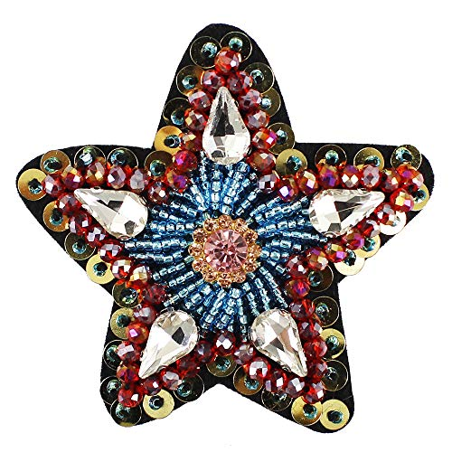 Beaded Heart Star Brooches Badges Rhinestone Sequin Crystal Motif Patches for Shoes Decorated (Crystal Brooch Motif)
